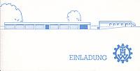 Die Seitenansicht des neuen Gebäudekomplexes ziert die Einladungskarte für die Einweihungsfeier. Quelle: THW Neukölln
