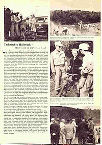 Die Zeitschrift 'Unser Wald' aus Frankfurt a. M. berichtet im November 1957 über die Berliner Waldbrandstreifen. Quelle: THW Neukölln