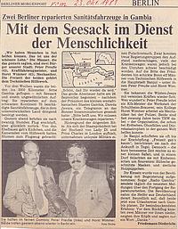 Die Berliner Morgenpost berichtet über die Rückkehr der Berliner THW-Helfer nach ihrem Hilfseinsatz in Gambia. Quelle: Berliner Morgenpost